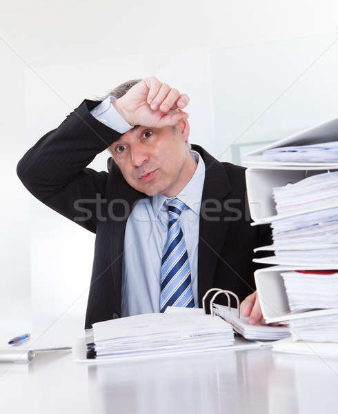 Exhausted Mature Businessman At Work Stock photo © AndreyPopov