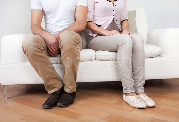 Stock photo: Young couple in quarrel at home
