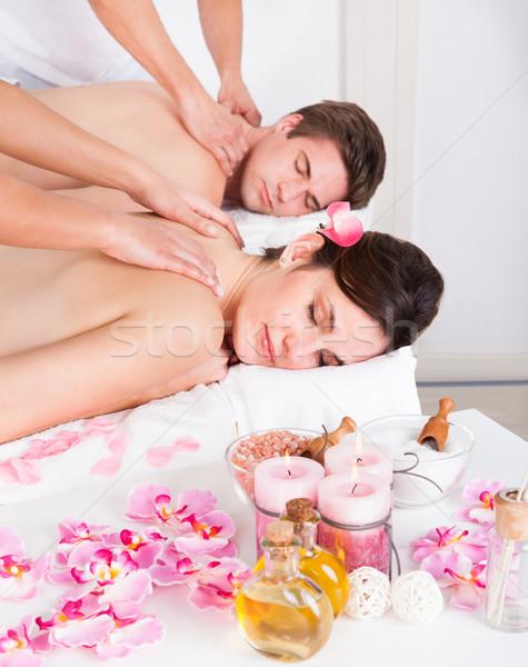Pareja spa salón atrás masaje Foto stock © AndreyPopov