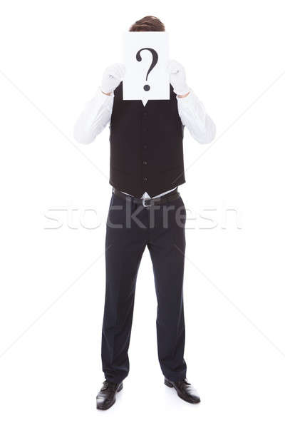 Male Waiter With Question Mark Stock photo © AndreyPopov