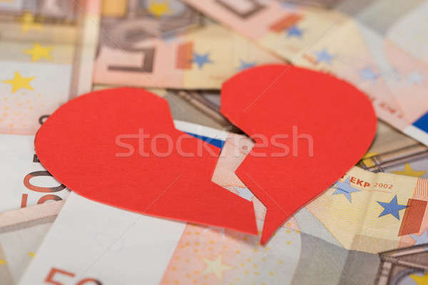 Broken Heart On Euro Banknotes Stock photo © AndreyPopov