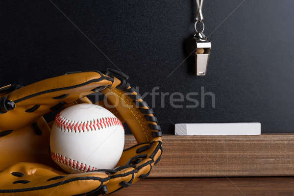 Whistle; Chalk And Baseball Glove With Ball Near Blackboard Stock photo © AndreyPopov