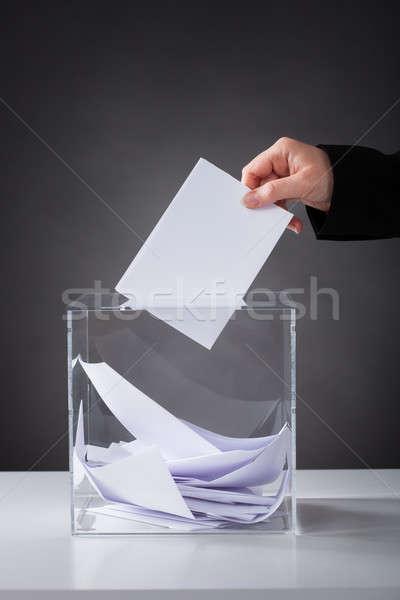 Kéz szavazócédula doboz közelkép üveg papír Stock fotó © AndreyPopov