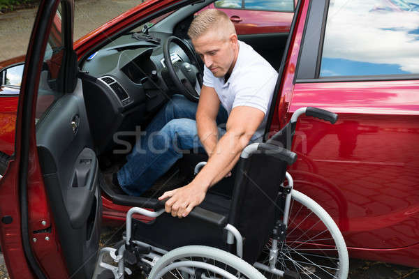 Handicapped Car Driver With A Wheelchair Stock photo © AndreyPopov