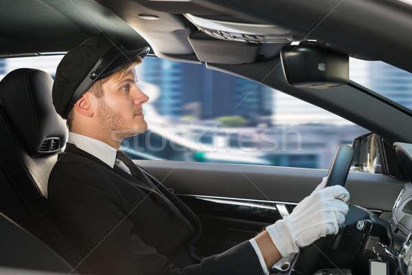 Portret jonge chauffeur auto knap mannelijke Stockfoto © AndreyPopov
