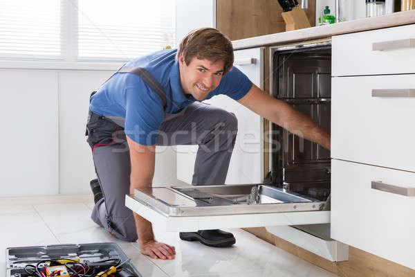 Bulaşık makinesi mutfak araç ev Stok fotoğraf © AndreyPopov
