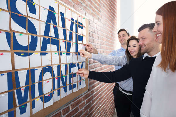 Save Money Text Made With Adhesive Notes Stock photo © AndreyPopov