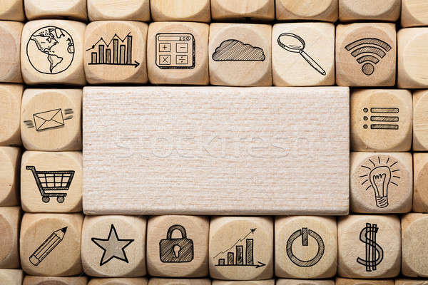 Wooden Block Surrounded By Various Computer Icons Stock photo © AndreyPopov
