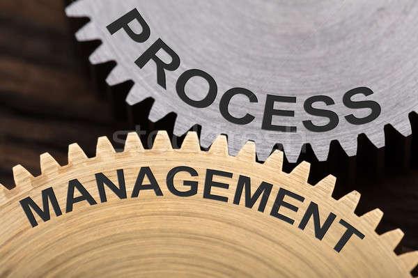 Process Management Concept On Interlocked Cogwheels Stock photo © AndreyPopov