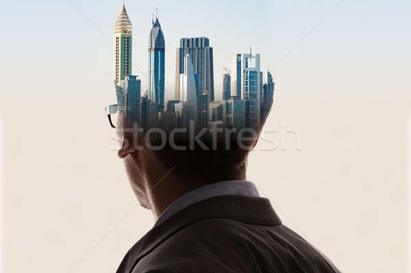 Double Exposure Of Businessman And Adult Man In Suit Stock photo © AndreyPopov
