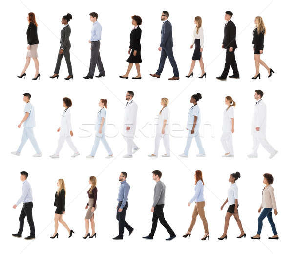 Collage Of Businesspeople And Doctors In A Row Stock photo © AndreyPopov