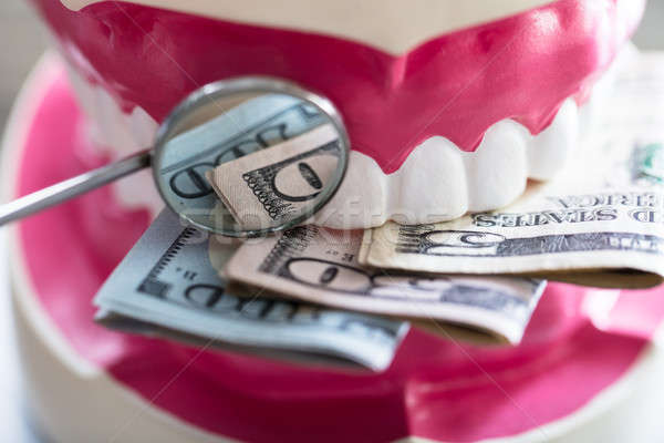 Close-up Of Denture With Banknote Stock photo © AndreyPopov