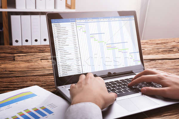 Businessperson Working With Gantt Chart On Laptop Stock photo © AndreyPopov