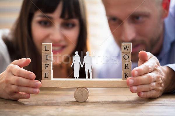 Coppia equilibrio lavoro vita altalena felice Foto d'archivio © AndreyPopov