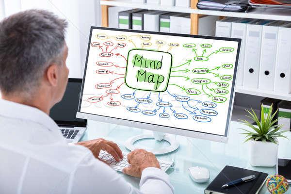 бизнесмен ума карта диаграммы компьютер Сток-фото © AndreyPopov