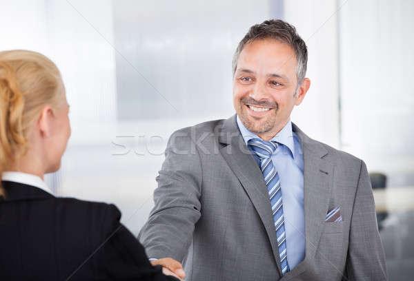 портрет успешный бизнесмен интервью рукопожатием бизнеса Сток-фото © AndreyPopov