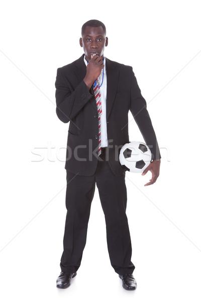 Zakenman fluiten voetbal portret Stockfoto © AndreyPopov