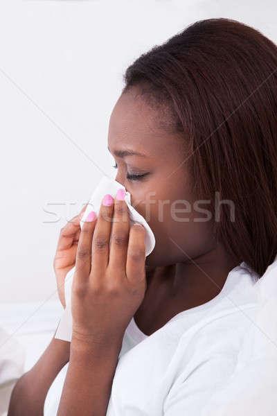 Сток-фото: женщину · страдание · холодно · домой · сморкании