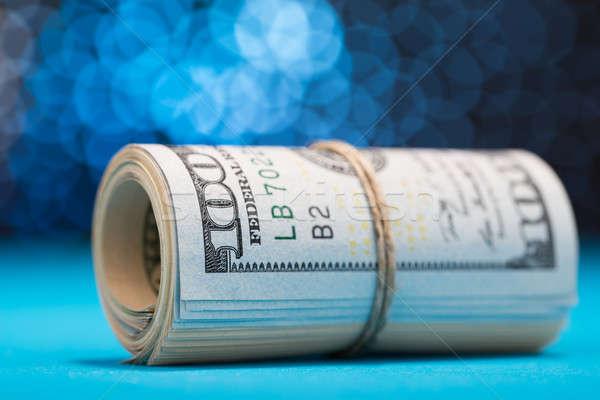 Stok fotoğraf: Dolar · yukarı · bant · mavi · bokeh