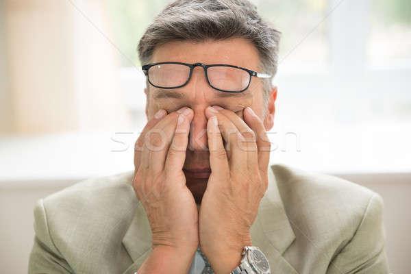 Nudzić biznesmen włosy smutne stres Zdjęcia stock © AndreyPopov