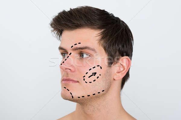 Man gezicht perforatie lijnen jonge man Stockfoto © AndreyPopov