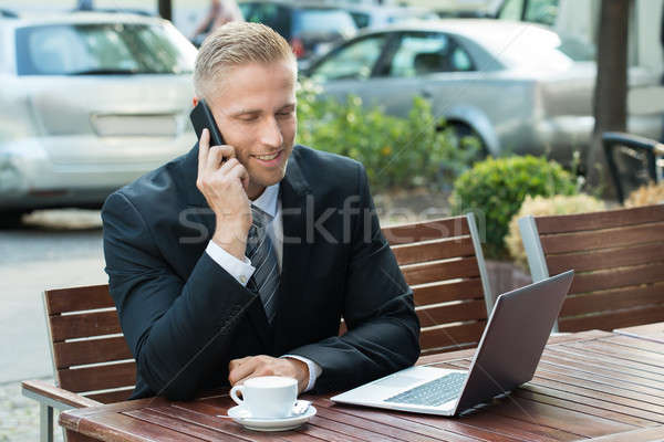 Stock photo: Businessman Talking On Cellphone Looking At Laptop