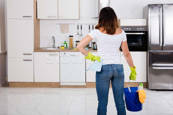 ストックフォト: 女性 · 洗浄 · ツール · 製品 · バケット