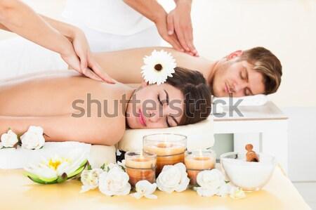 Photo stock: Couple · spa · chaud · pierre · thérapie