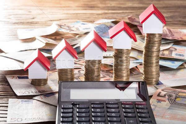 Miniatura casas moneda calculadora Foto stock © AndreyPopov