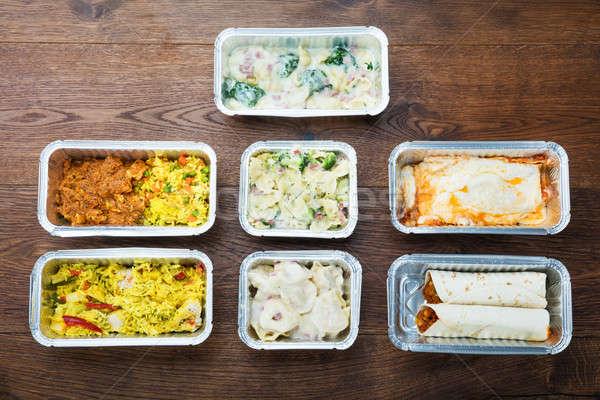 Smakelijk maaltijden tabel verschillend type klaar Stockfoto © AndreyPopov