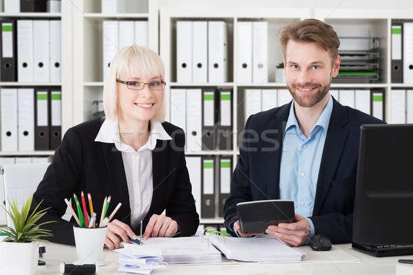 Deux comptables travail bureau portrait souriant Photo stock © AndreyPopov