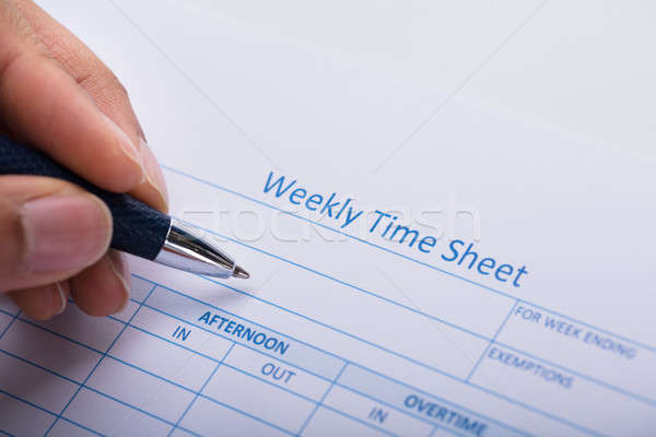 Person Filling Weekly Time Sheet With Pen Stock photo © AndreyPopov