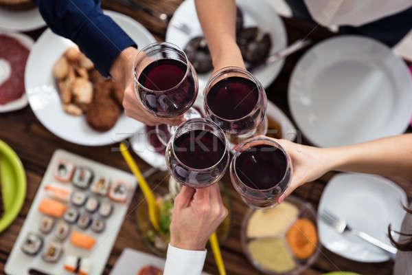 Stock photo: Friends Toasting Wineglasses