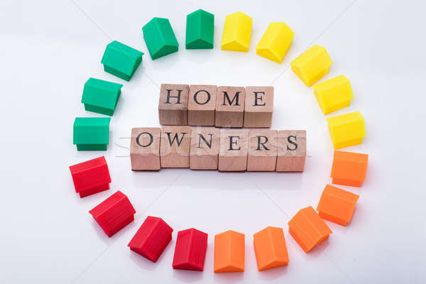 Homeowner Association Wooden Blocks Surrounded With House Models Stock photo © AndreyPopov