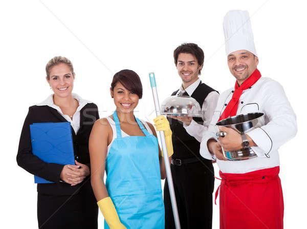 Różnorodny grupy uśmiechnięty pracowników odizolowany biały Zdjęcia stock © AndreyPopov