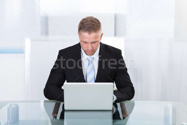 Businessman working at laptop Stock photo © AndreyPopov