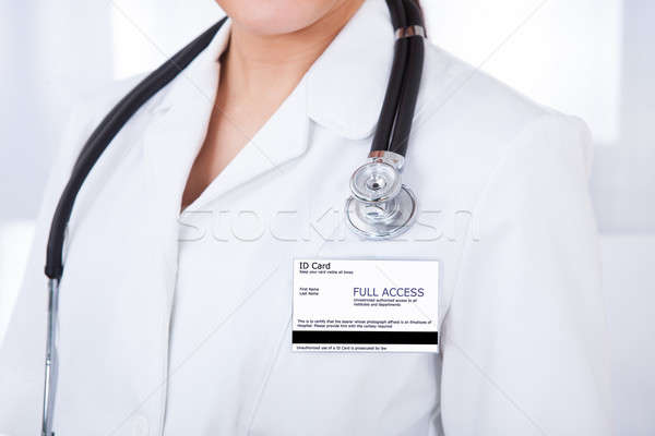 Doctor With Id Card And Stethoscope Stock photo © AndreyPopov