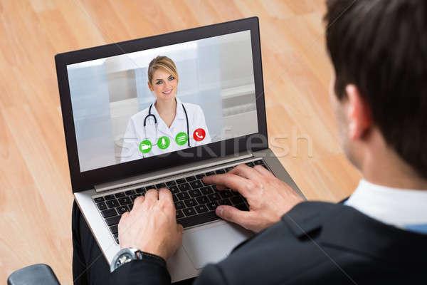 Online lekarza laptop pracy Zdjęcia stock © AndreyPopov