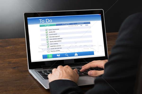 Füllung Liste zu tun Laptop Form Stock foto © AndreyPopov