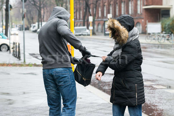 Robber Pulling Purse From Woman On Sidewalk Stock photo © AndreyPopov