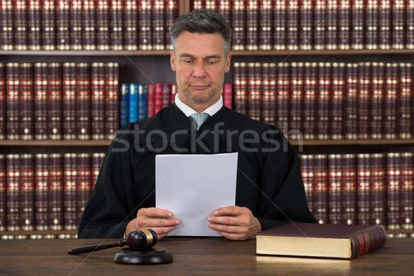 судья чтение документа столе зрелый Сток-фото © AndreyPopov