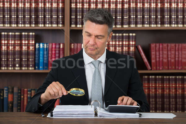 Accountant Scrutinizing Financial Documents In Office Stock photo © AndreyPopov