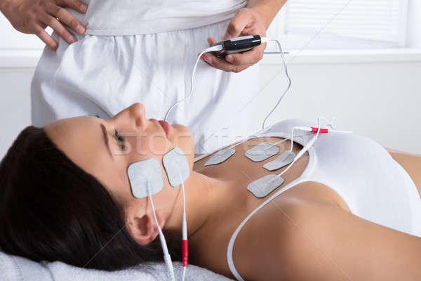 セラピスト 療法 胸 顔 クローズアップ 手 ストックフォト © AndreyPopov