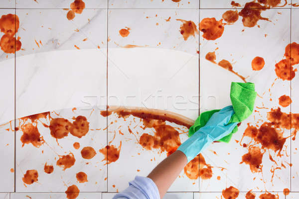 Person Hand tragen Handschuhe Reinigung Stock Stock foto © AndreyPopov