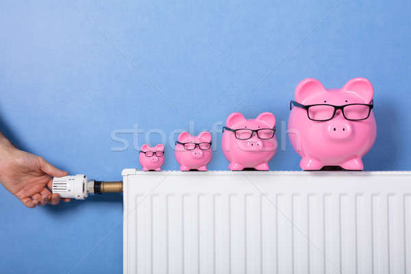 Person's Hand Adjusting Thermostat With Piggy Bank On Radiator Stock photo © AndreyPopov