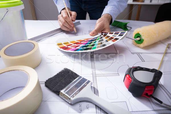Architetto colore guidare disegno blueprint mano Foto d'archivio © AndreyPopov