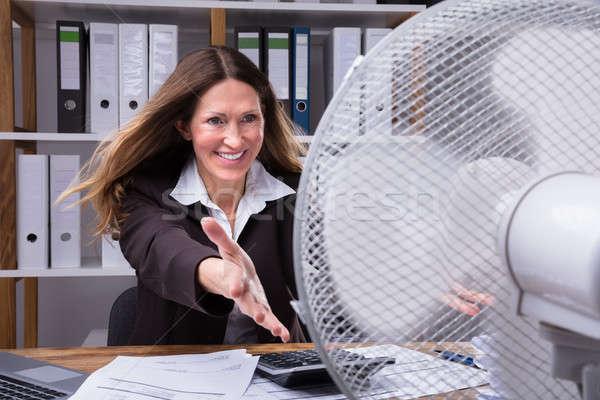 Feliz empresária resfriamento elétrico ventilador maduro Foto stock © AndreyPopov