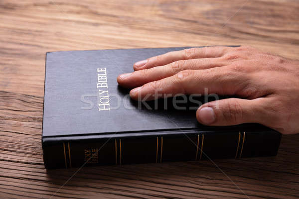 Person's Hand On Holy Bible Stock photo © AndreyPopov
