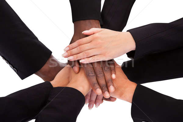 Stock fotó: üzletemberek · kezek · alulról · fotózva · kilátás · emberek · üzlet
