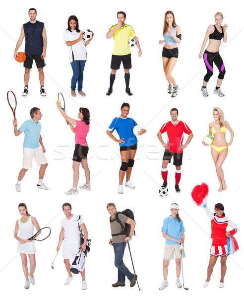 Sport mensen geïsoleerd witte glimlach Stockfoto © AndreyPopov